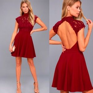 Lulus Instant Romance Wine Red Lace Backless Dress